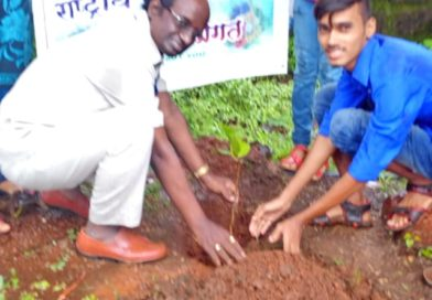 tree plantation in the campus by NSS volunteer with hon principal